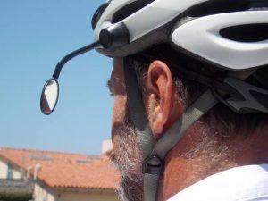 helmet mounted bicycle mirror